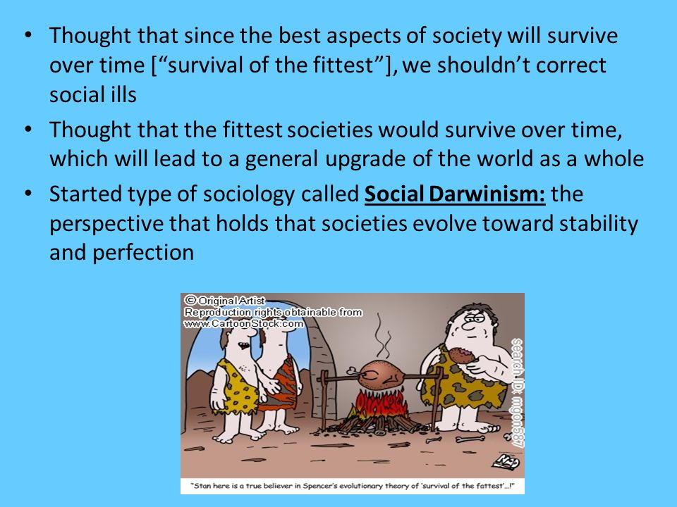 Thought that since the best aspects of society will survive over time [ survival of the fittest ], we shouldn't correct social ills